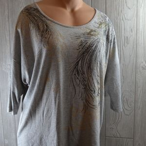 JMS Knit Top Embellished Feather PLUS SIZE 2X 18W